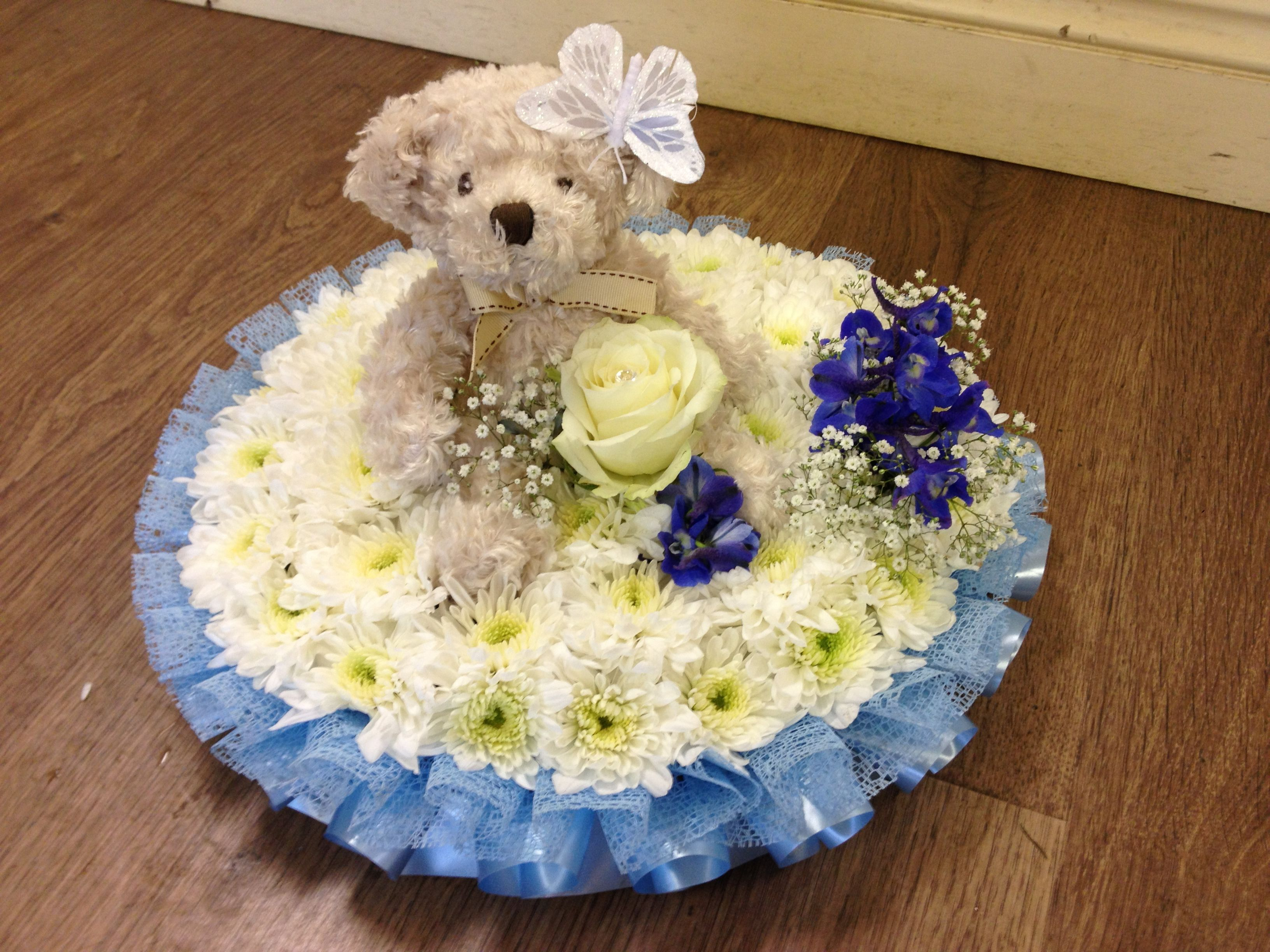 Posy pad with teddy floral sympathy flowers sayings posy pad with teddy izmirmasajfo Gallery