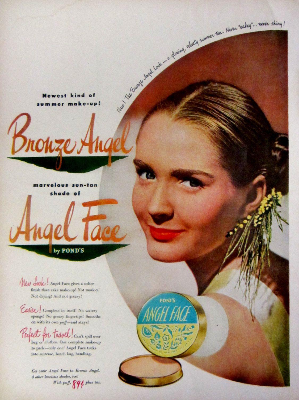 Vintage bathroom ads - 1948 Ponds Angel Face Make Up Vintage Advertisement Bathroom Wall Art Beauty Salon Bedroom Decor Cosmetics Ad Original Magazine Print Ad