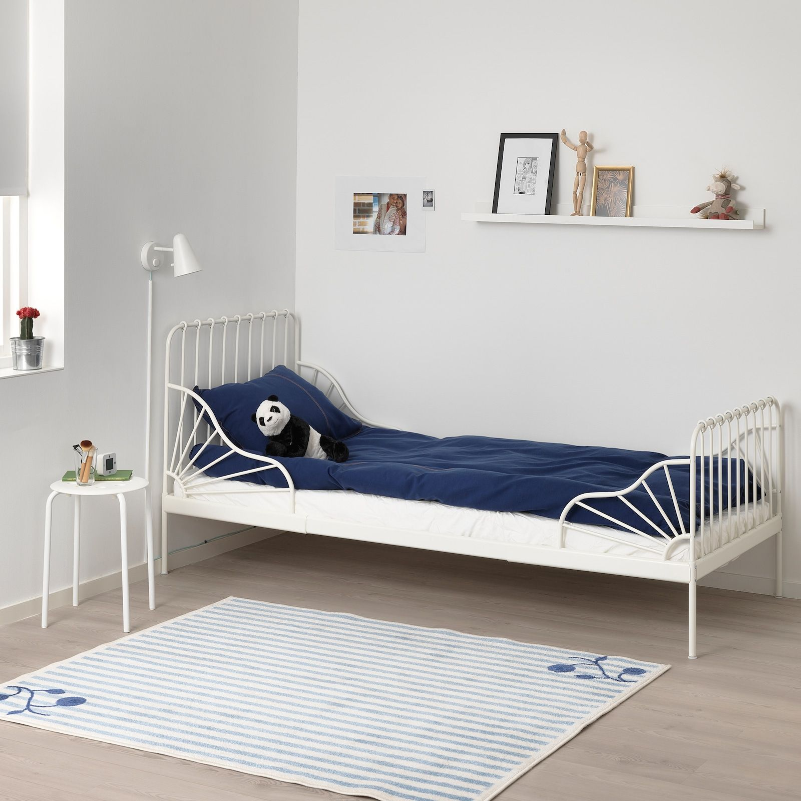 Minnen Ext Bed Frame With Slatted Bed Base White 38 1 4x74 3 4 Ikea In 2020 Bed Base Bed Frame Toddler Bedroom Decor