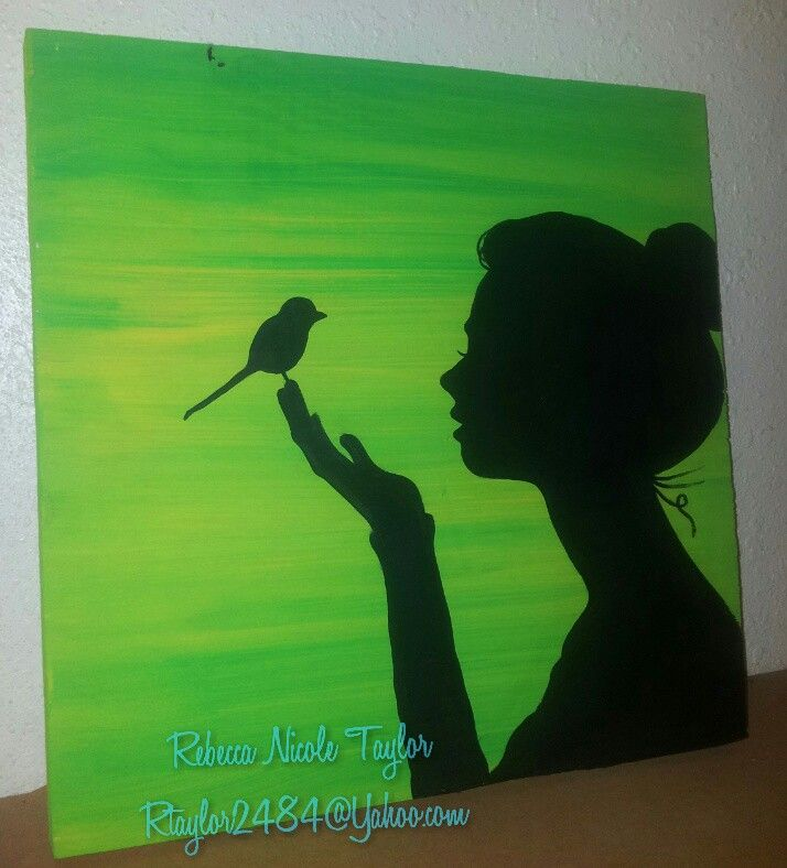 Free bird Girl holding a small bird acrylic paint silhouette on canvas. To purchase, contact at rtaylor2484@Yahoo.com. Country girl, southern Belle, free spirit, wild, boho hand painted. #smallbirds
