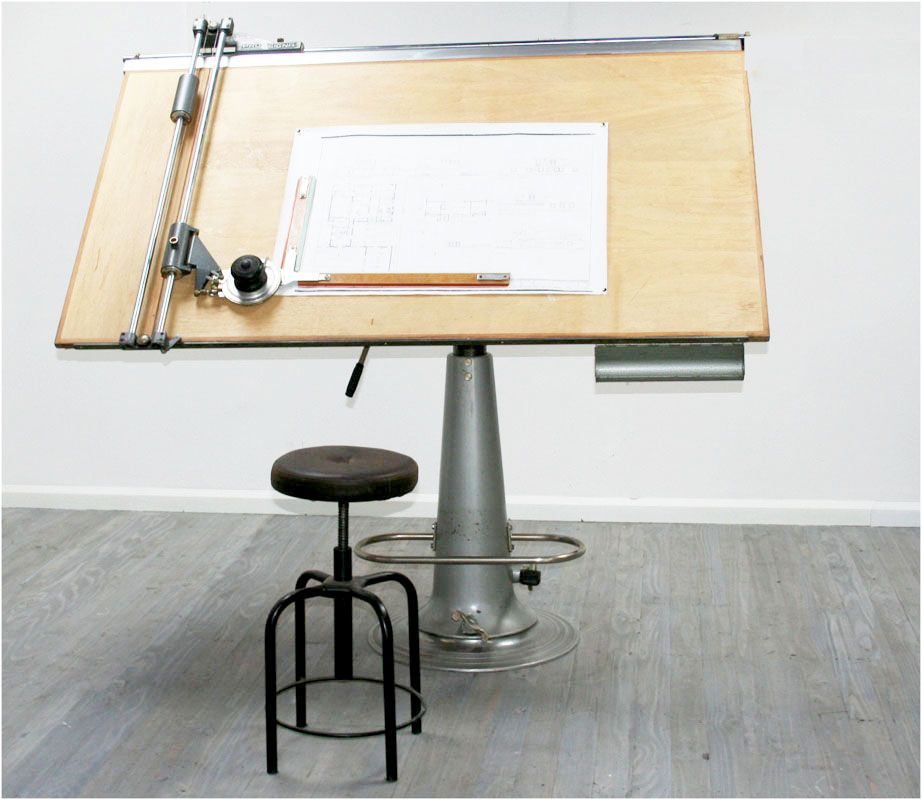 Industrial Nike Drafting Table Ca 1950: 1950s Architects Drafting Table