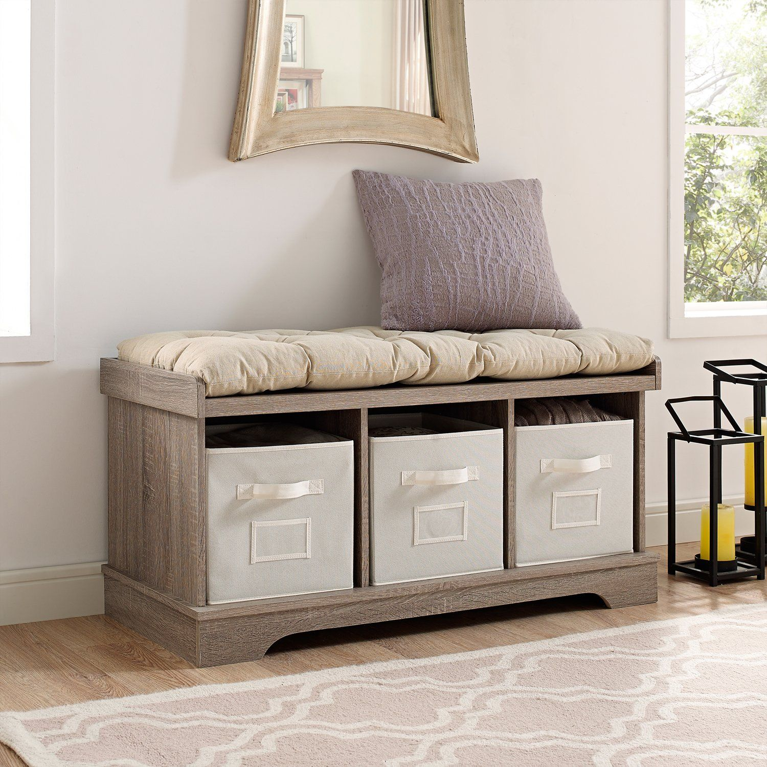 42 Wood Storage Bench With Totes And Cushion Wood Storage Bench Entryway Bench Storage Storage Bench With Cushion