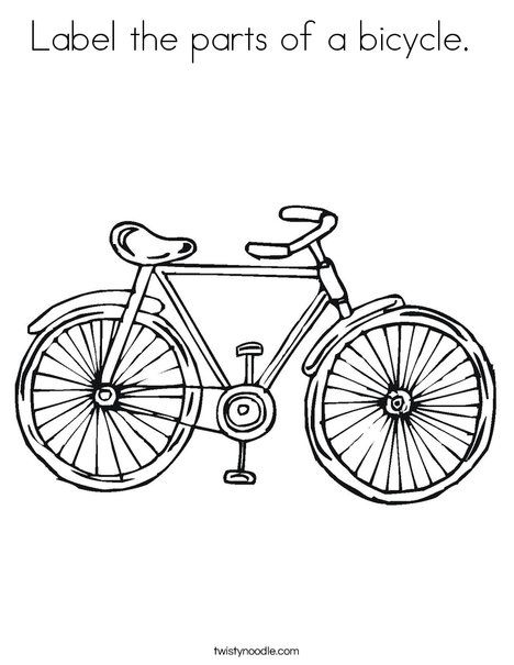 Label The Parts Of A Bicycle Coloring Page Twisty Noodle