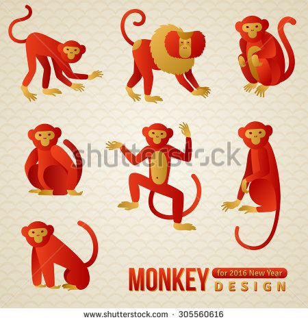 set of chinese zodiac monkeys vector illustration 2016 new year symbol playful - Chinese New Year Sign