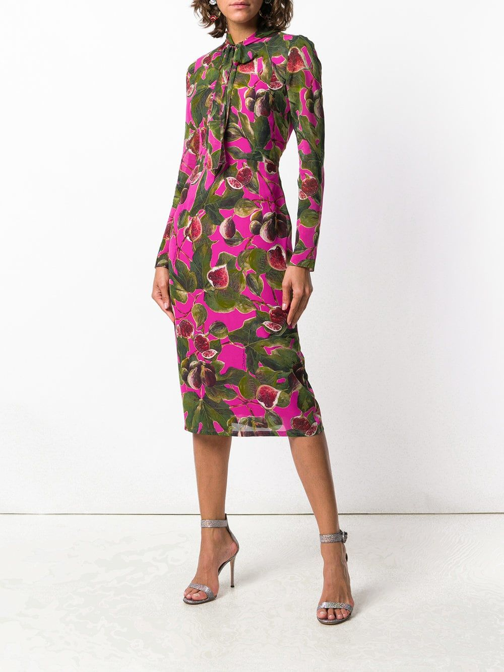 Dolce u gabbana floral longsleeve midi dress dolce and gabbana in