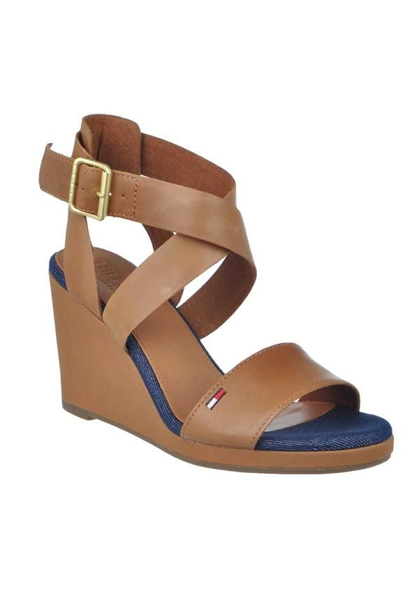 8d9a9fc8b81a9 Tommy Hilfiger Womens Leather Criss Cross Wedged Sandals