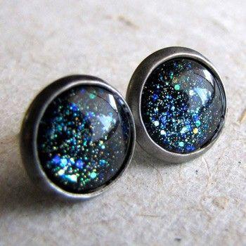 Blue Galaxy Stud Earrings
