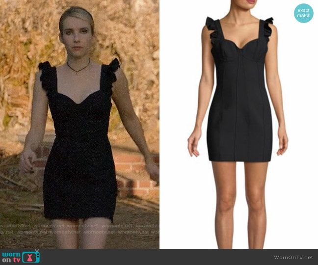 ff1d94bdd05430 Madison s black ruffle shoulder mini dress on American Horror Story  Apocalypse. Outfit Details  https