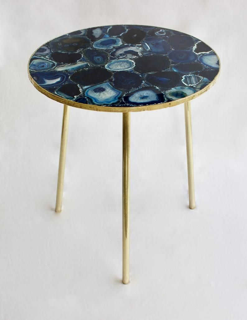 Blue Agate Round Coffee Side Table Etsy In 2021 Side Table Blue Agate Iron Hardware [ jpg ]