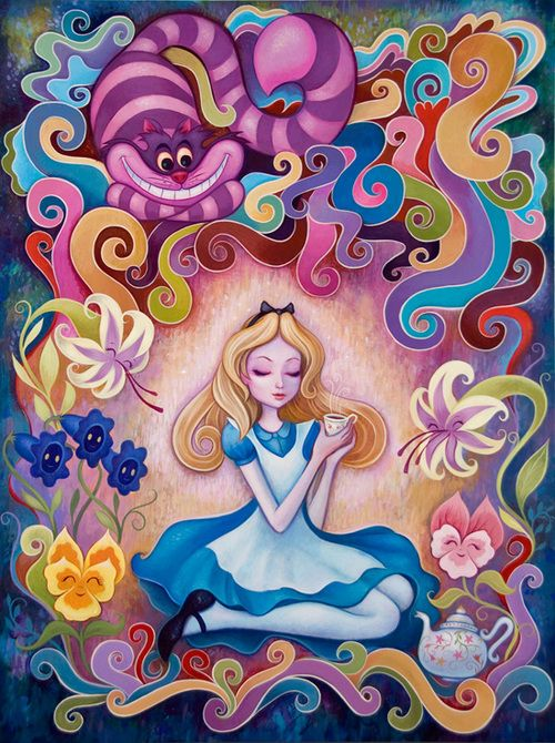 Alice Wonderland Colorful Art Painting Tea Trippy Fairy Tale Illustration