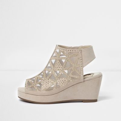 39686f453b Girls light pink studded peep toe wedge shoes | Products | Shoes ...