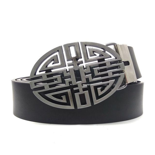 Men belt black pu leather belt men with celtic knot metal belt buckle ceinture homme vintage belts
