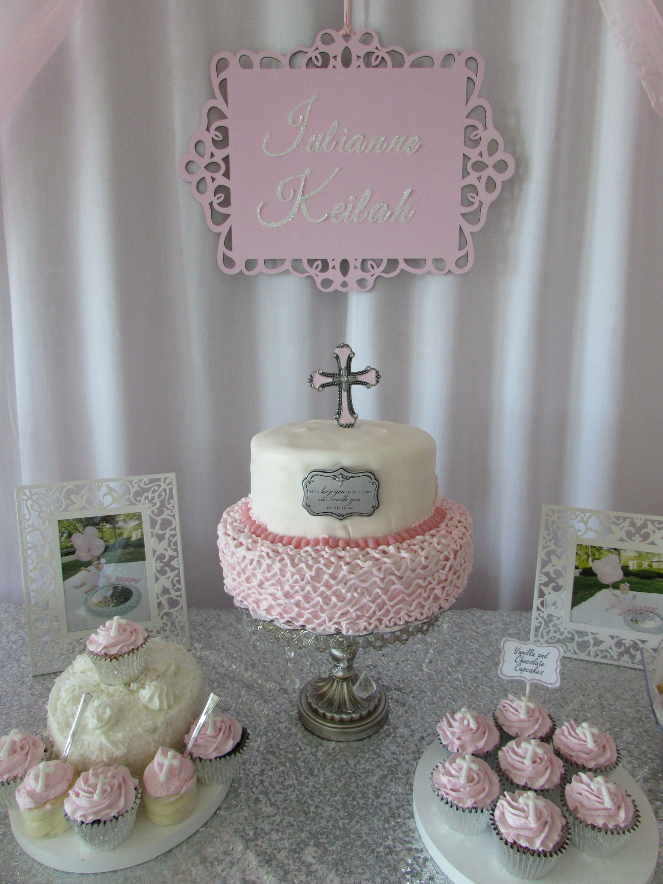Baby girl pink baptism dessert table cake table baby
