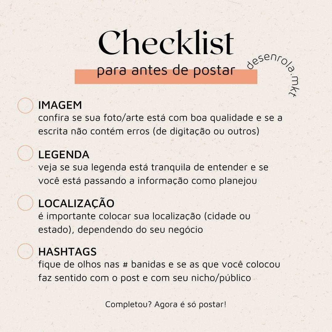 """Marketing de Conteúdo on Instagram: """"Esse checkli..."""
