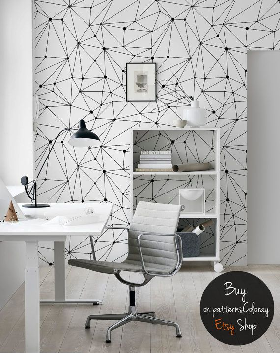 Minimalistic Constellations Wallpaper Black And White Lines Wall Mural Dots Scandinavian Style