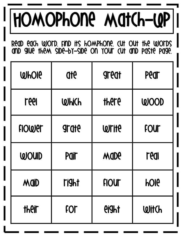 Homophone Match Up.pdf Homophones, Kindergarten spelling