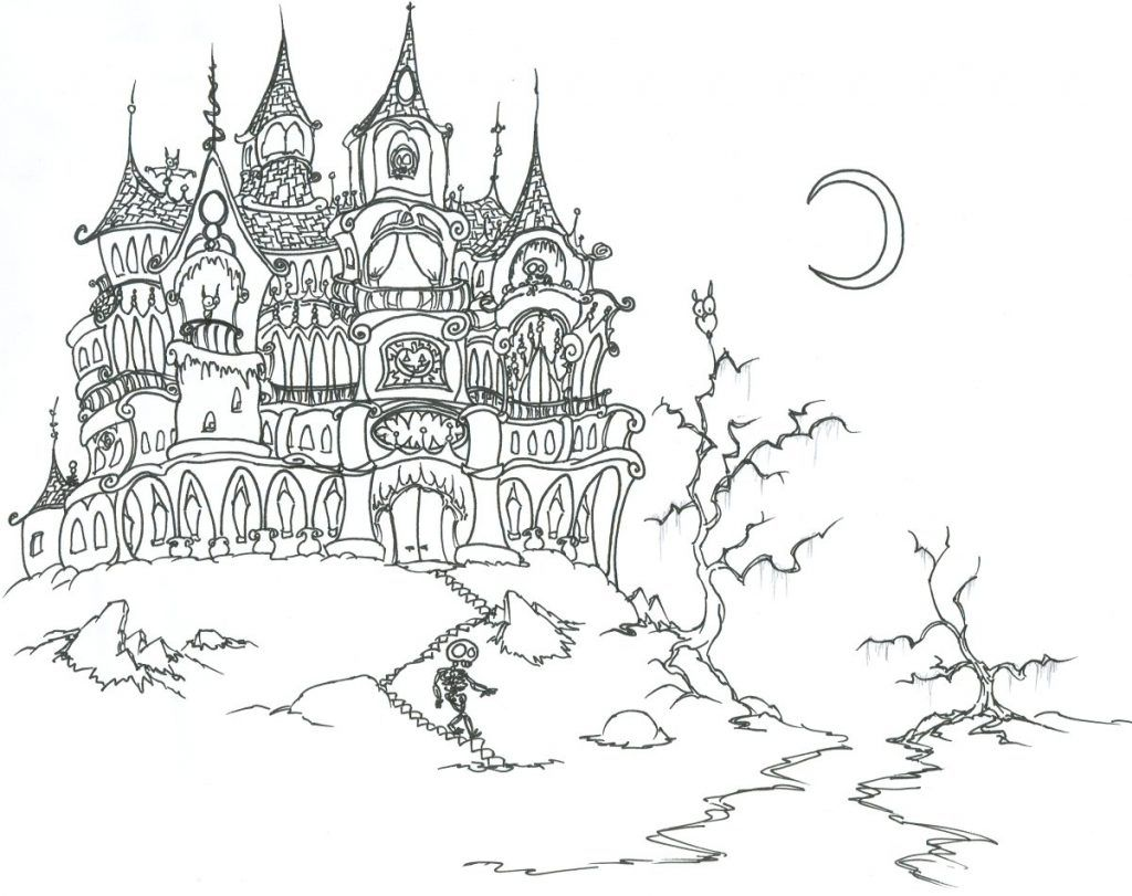 Haunted House Coloring Sheet Adult Coloring Pages Pinterest