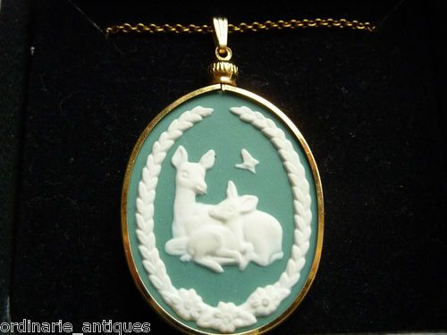 Mothers Day Wedgwood Necklace Franklin Mint Porcelain Deer Fawn Jasperware   eBay