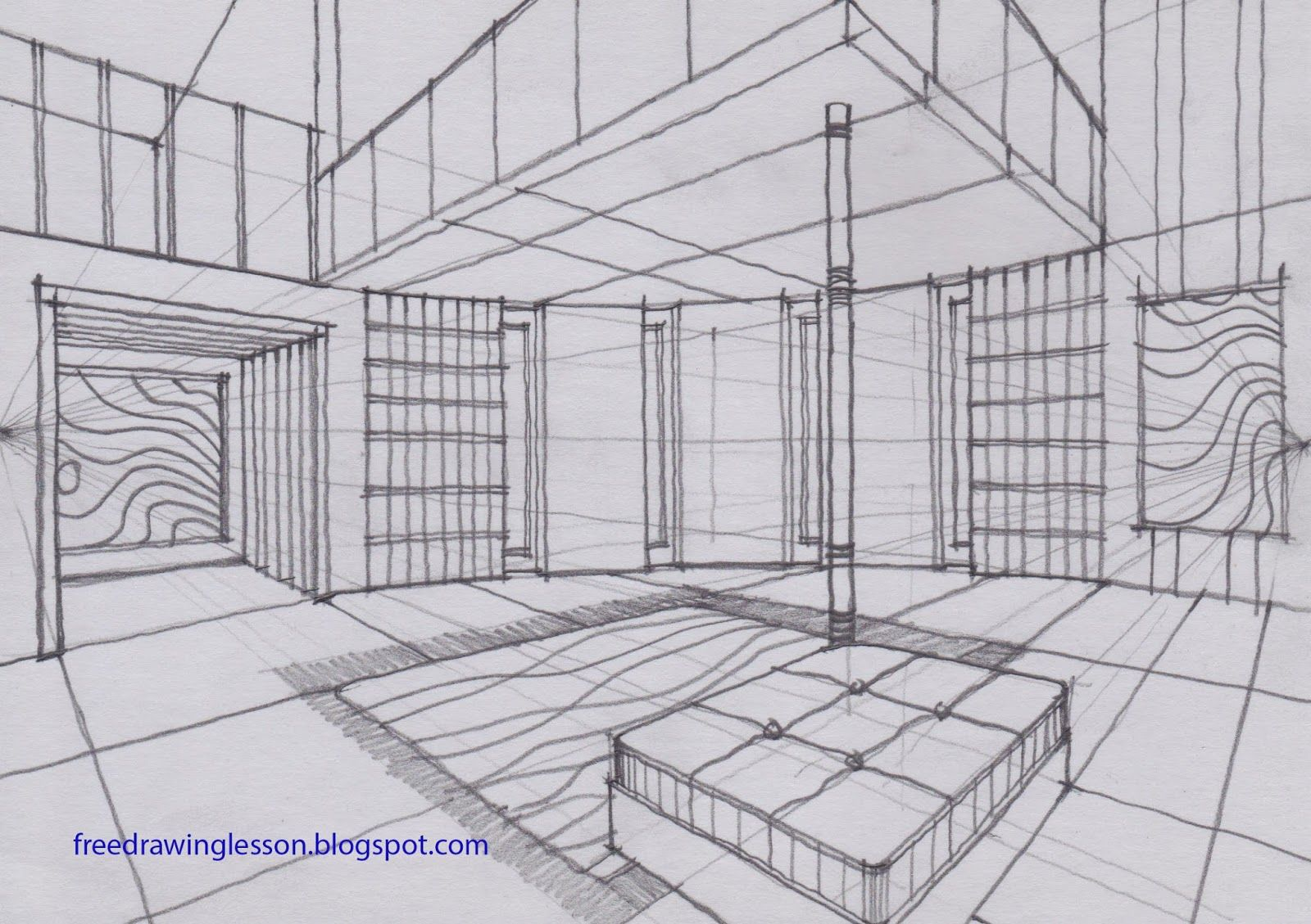 Draw A Room With A Curve Wall In Two Point Perspective Sketch