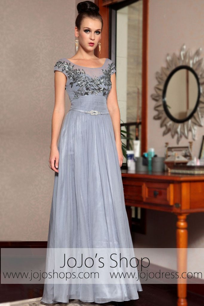 Gray Silver Cap Sleeves Modest Long Prom Evening Formal Dress ...