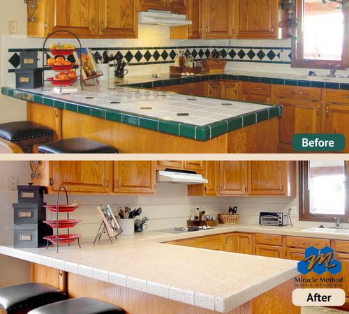 Get rid of unsightly patterned kitchen tile and refinish ...
