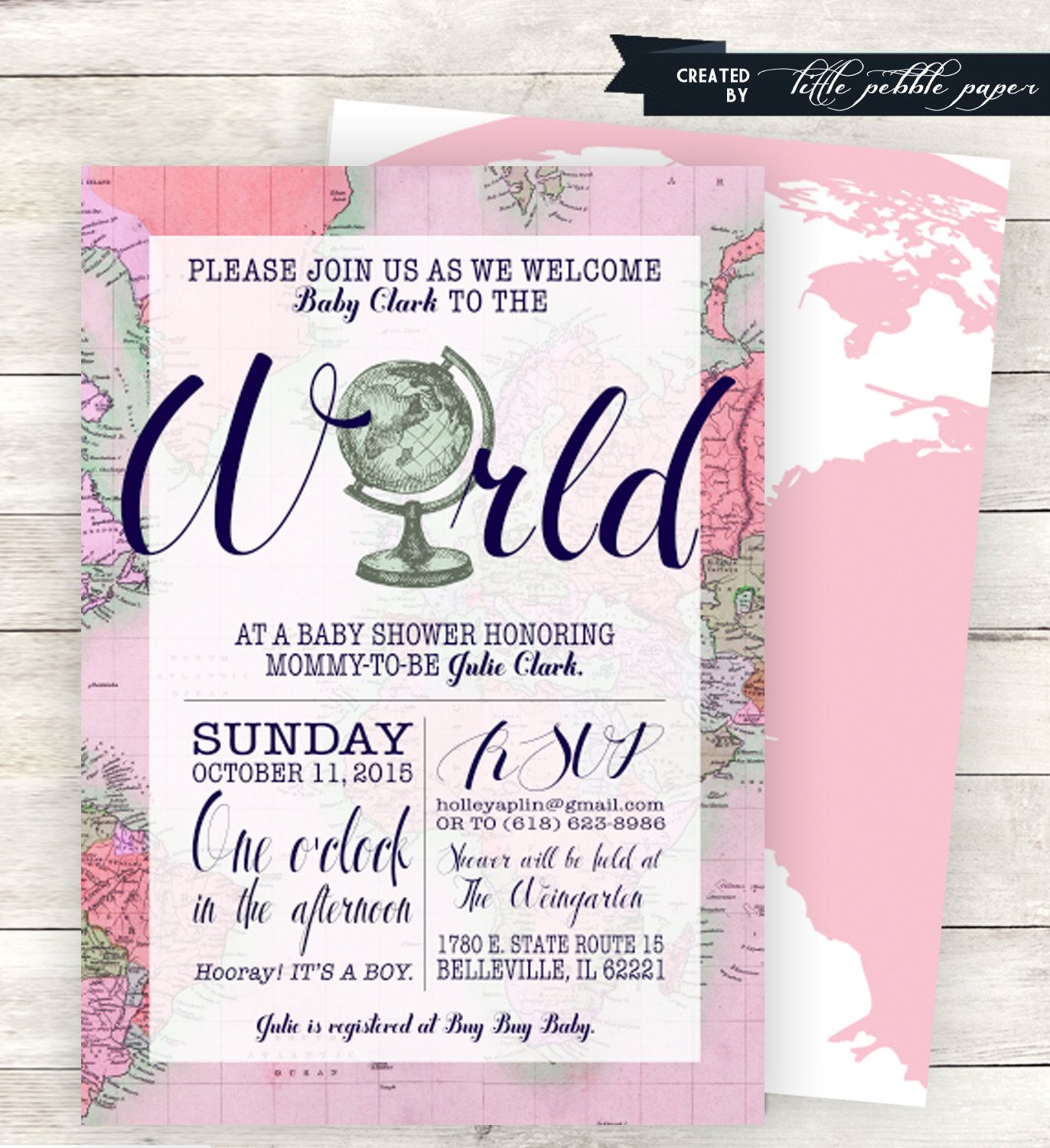 Pink Welcome to the World Baby Shower Invitation, Printable, Girl ...