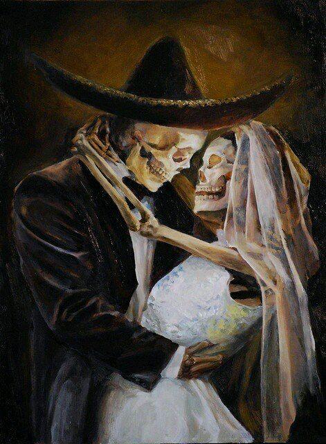 Cuadro de novios | Dibujo dia de muertos, Arte del cráneo, Vida y ...