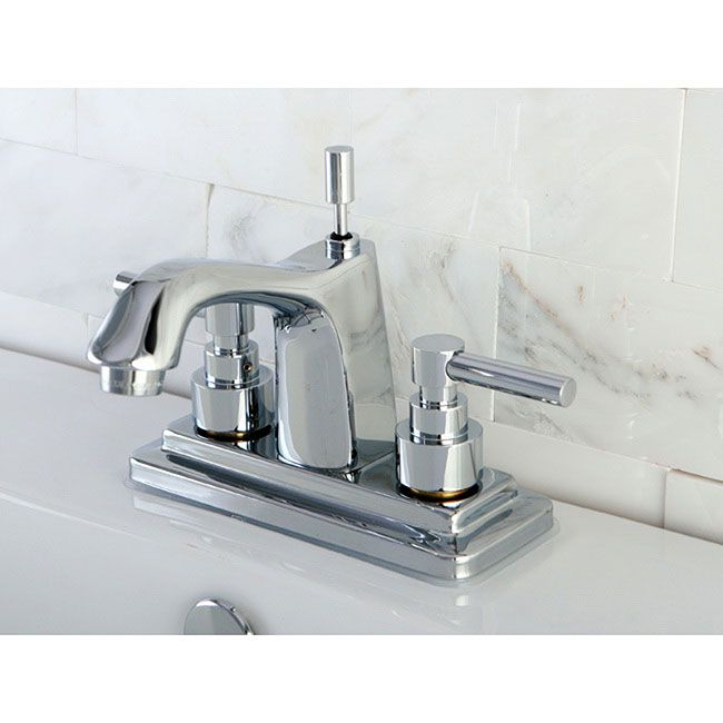 Chrome 4 Inch Centerset Bathroom Faucet Lever Handles Grey