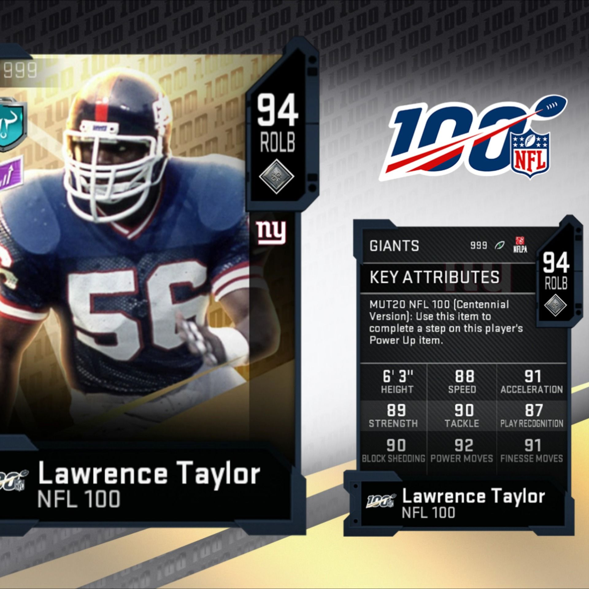 Madden 20 NFL 100 Players Lawrence Taylor and Bobby Bell