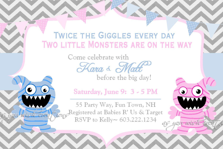Twins Monster Baby Shower Invitations Monster Baby Shower Invites