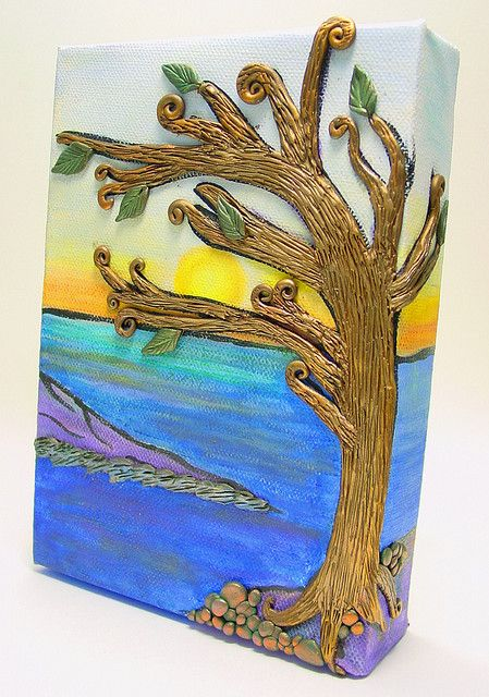 Polymer Clay on canvas - 5 x 7 polymer clay on canvas. Background is painted with acrylics and pan pastels. Tree rocks and shoreline are polymer clay. - very interesting way to provide texture! Tinaholden via flickr - #polymer #clay #canvas #art #crafts tå√