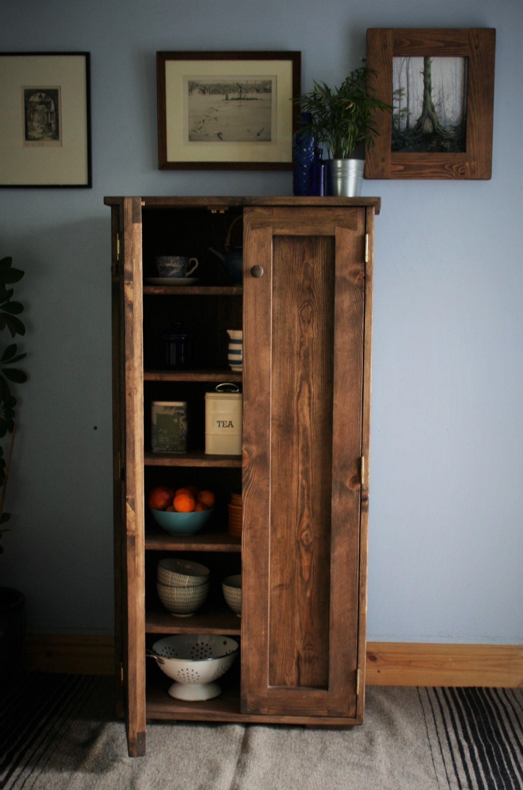 Kitchen Cabinet Pantry Larder Cupboard Dark Wood 6 Shelves Kitchen Storage 130h X 65w X 35 5d Cm Sustainable Natural Wood Somerset Uk Rustic Kitchen Storage Tall Kitchen Cabinets Wooden Storage Cabinet