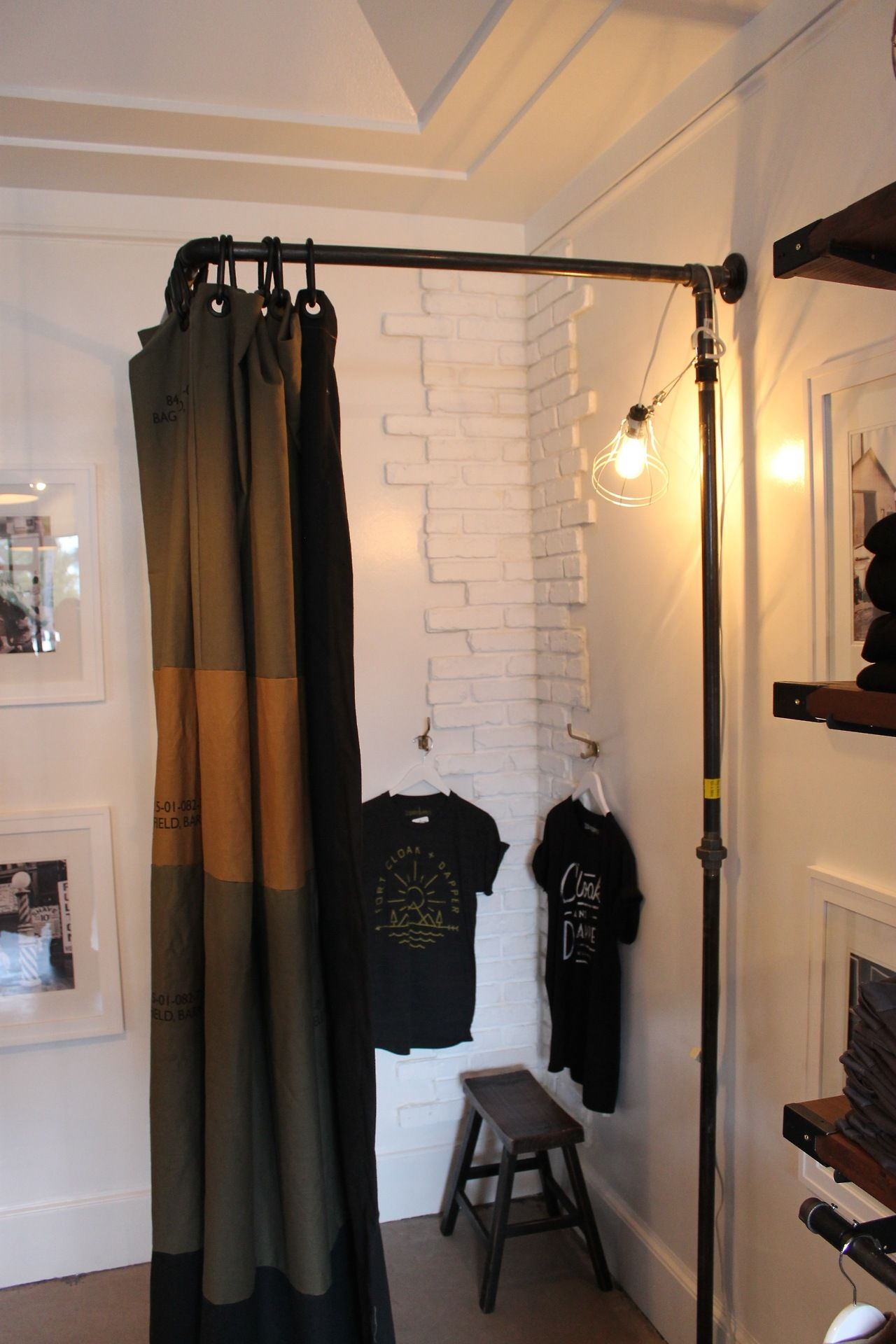 Fitting Room Designs For Retail: Clamp Light Interesting Idea For Dressing Room, Love The