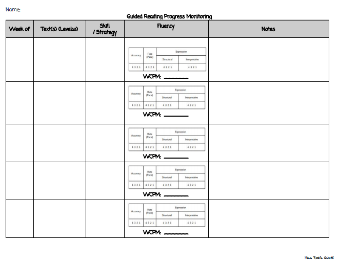 Guided Reading Group Progress Monitoring Form  Freebie  Teaching