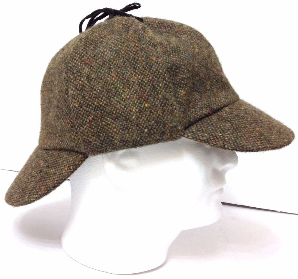 3d765bbe2b0 Vtg ORVIS DEERSTALKER HAT Tweed Brown Wool MADE IN IRELAND Mens Lrg  (7-3 8-1 2)  Orvis  Deerstalker