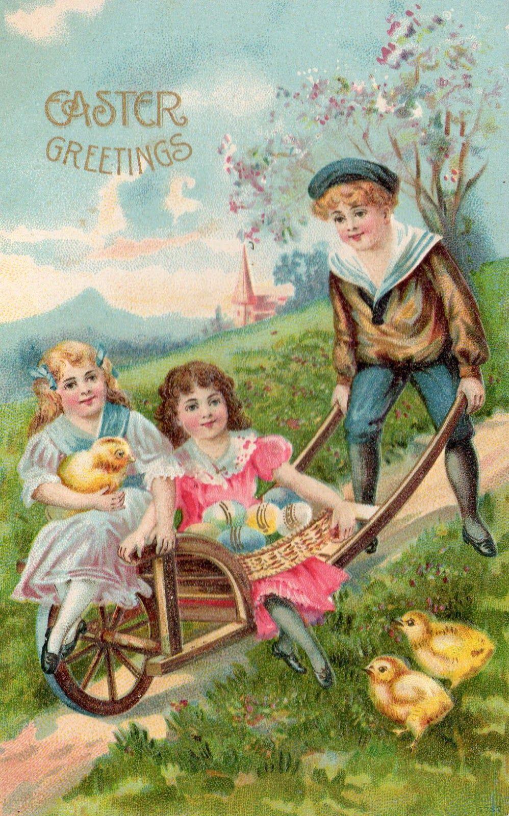 Free vintage Easter postcard - children