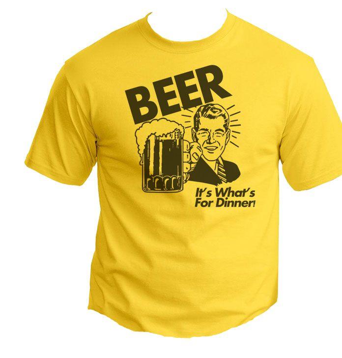Beer For Dinner Funny Retro T-shirt