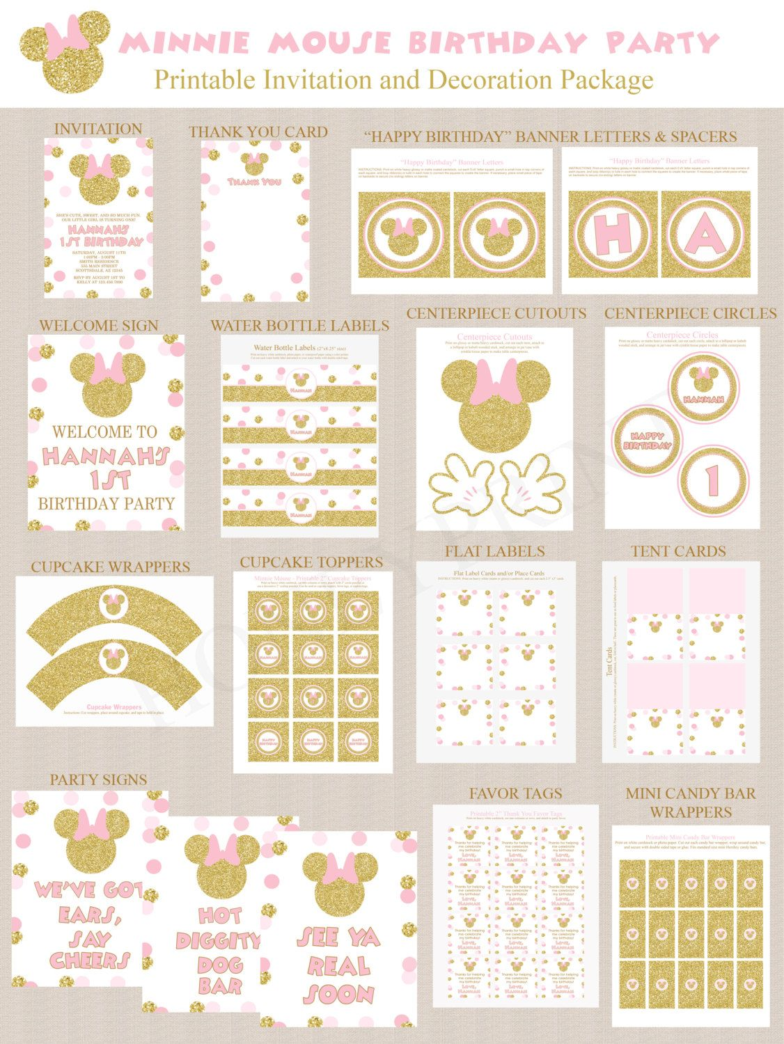 Minnie Mouse Birthday Party Decoration Printables and Invitation ...