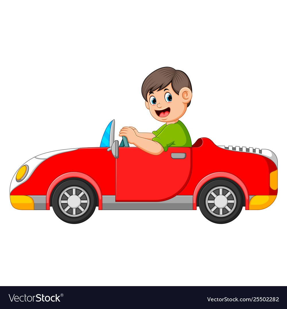 Boy Is Driving Car With Good Posing Royalty Free Vector Cartoons Png Boys Vector Free