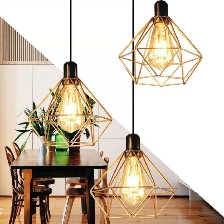 Kit Lustres 3 Pendentes Aramado Diamante Cobre Luminarias Teto Mesa Sala Cozinha Casaclique Casaclique Iluminação De Teto Lâmpadas De Teto Luminaria Teto