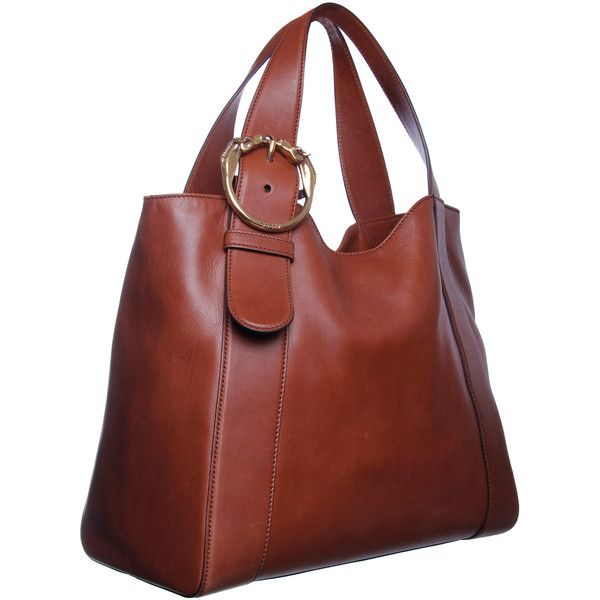 Gucci Tan Brown Horse Buckle Detail Leather Shoulder Bag Clasp Lock Zipped Pocket Within
