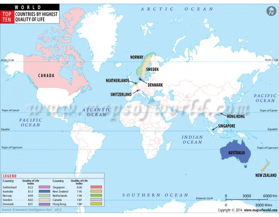 Buy top ten countries by highest quality of life map online world buy top ten countries by highest quality of life map online gumiabroncs Images
