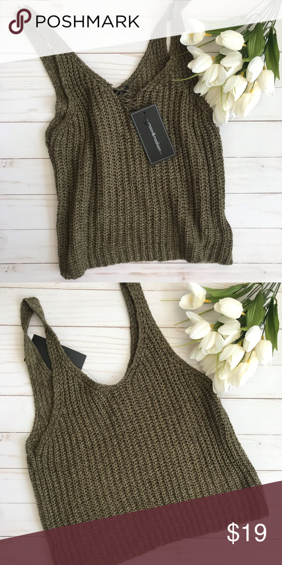 """6e772ebe856 Knit Cropped Tank Brand new adorable Moon & Madison knit Cropped tank in  army green color. Length from top of scoop neck to bottom of top is 11.5""""  Moon ..."""