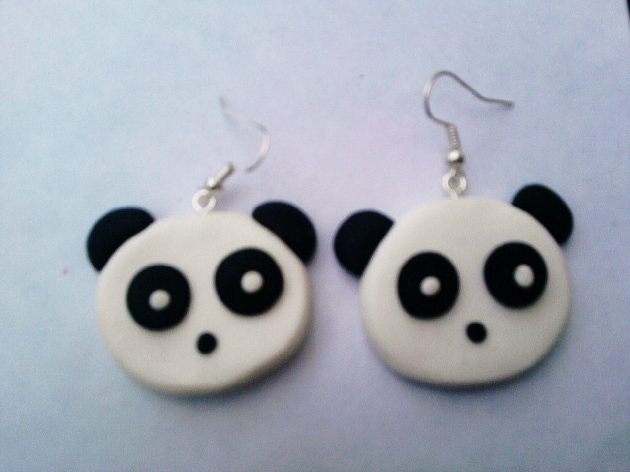 boucles d oreille boucle d oreille tete de panda en pate. Black Bedroom Furniture Sets. Home Design Ideas