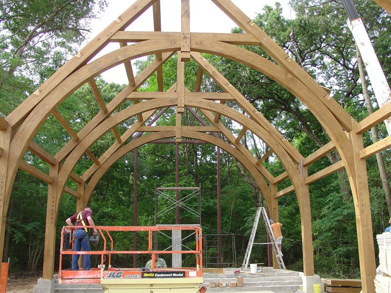 Timber frame raising construction photo gallery post for Maine post and beam kits