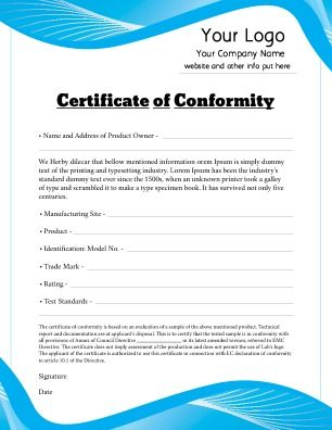 Certificate of Conformity for use in any industry that has met