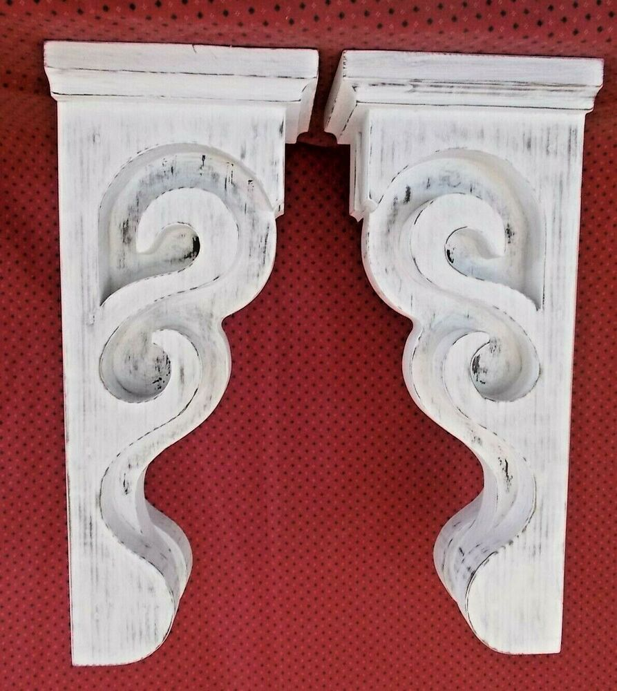Pair Of Victorian Wood Corbels Distressed White 7601 Dw 033 034 Wood Corbels Reclaimed Wood Accent Wall Corbels