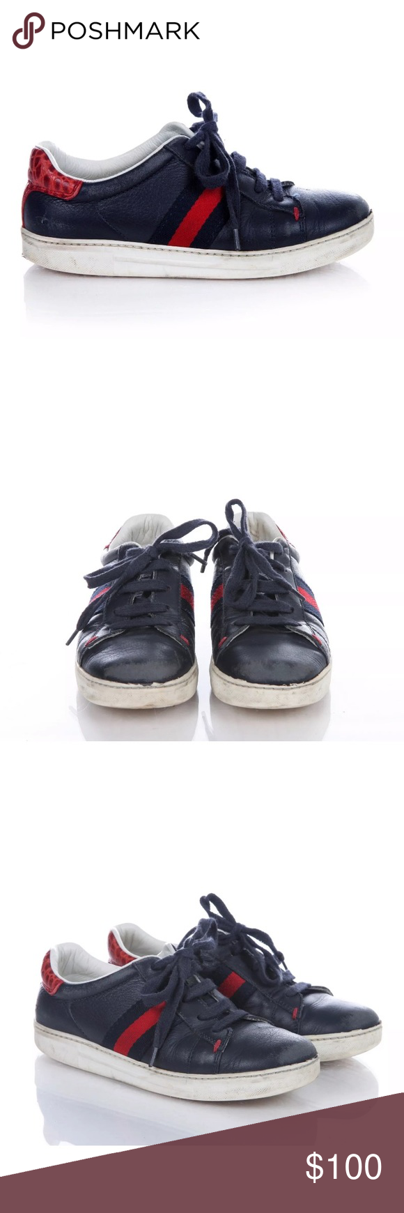 7f49ec260 Gucci boys leather sneakers croc navy red 12.5 30 Boys Gucci sneakers size  US 12.5, EUR 30. Navy blue leather with red croc back. Lace up shoes.