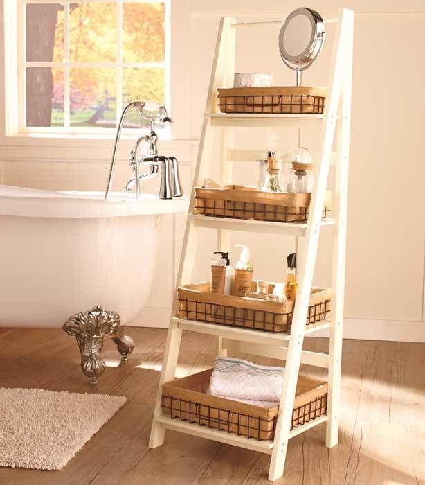 Ladder Shelf Storage Leaning Wood Display Furniture Wirebasket