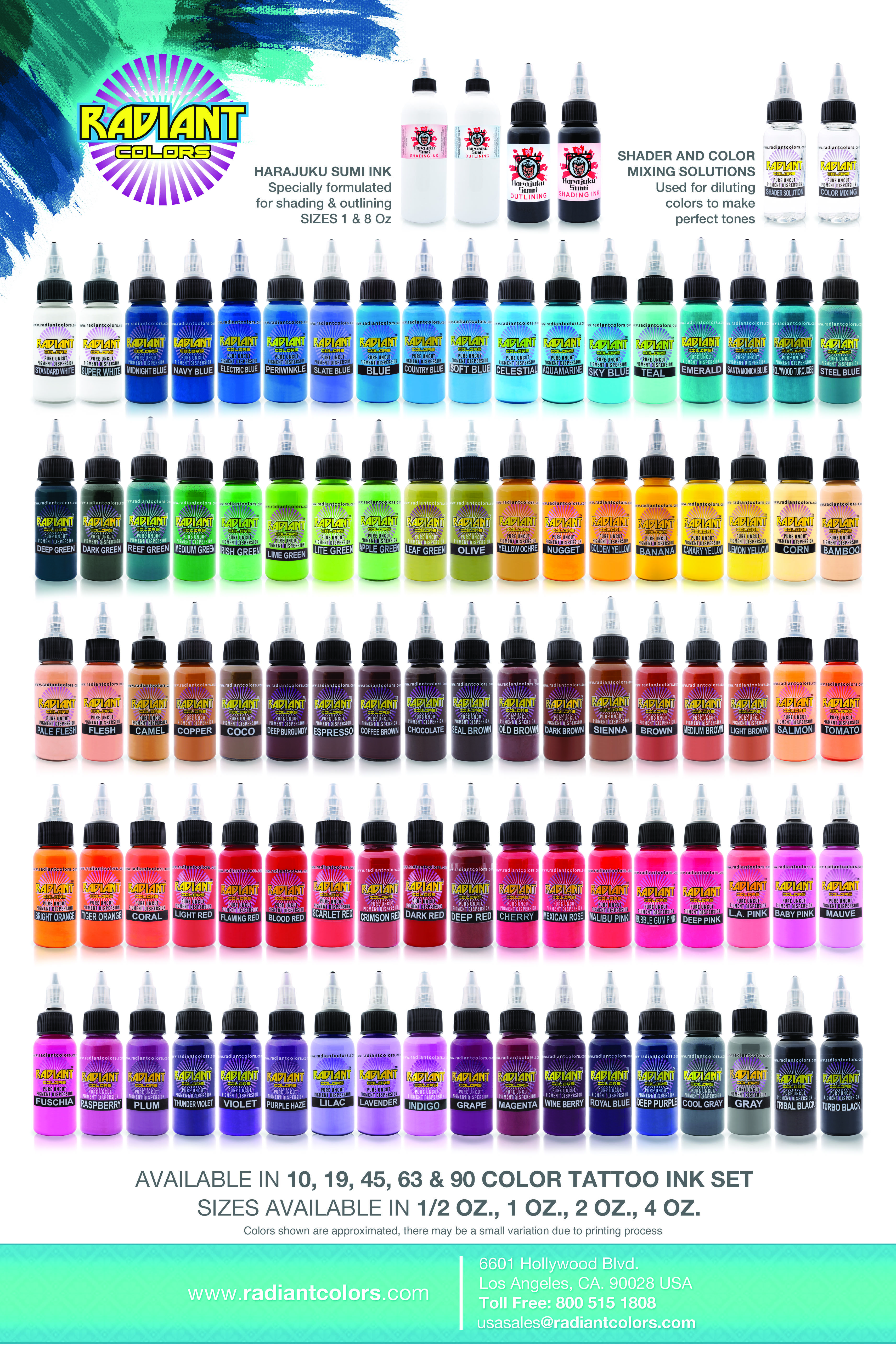 Color chart tattoo ink sets color tattoo ink tattoo